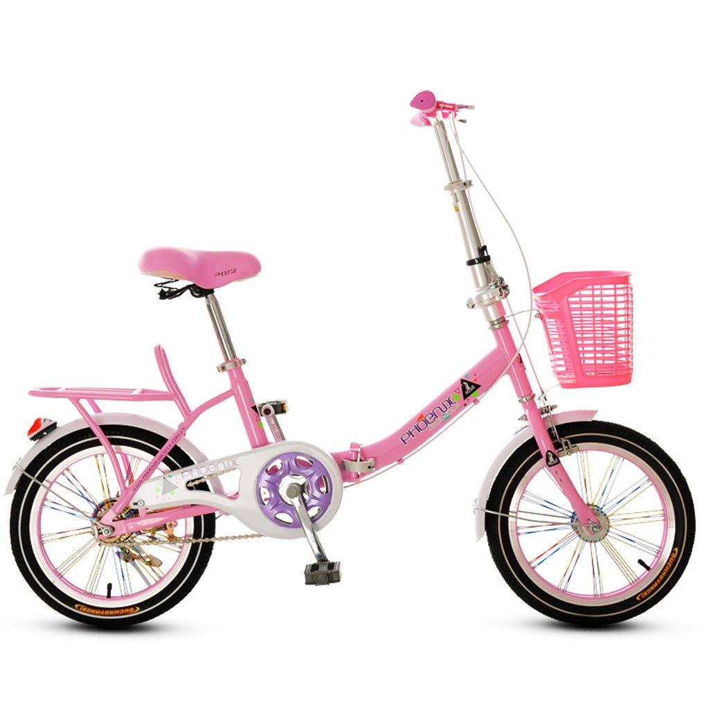 子供の折りたたみ自転車16インチ男の子と女の子Bike Girl 6 – 10年古いピンク B07DVCH87T  ピンク