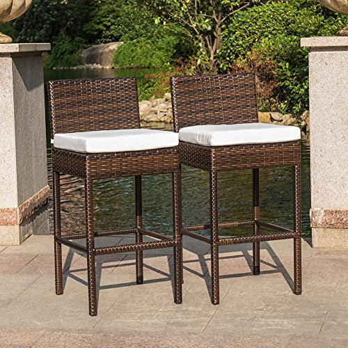 Sundale Outdoor 2 Pcs Brown Wicker Counter Height Bar Stool with Cushions All Weather Patio Furniture Set (Patio Bar Counter Height Sets And)