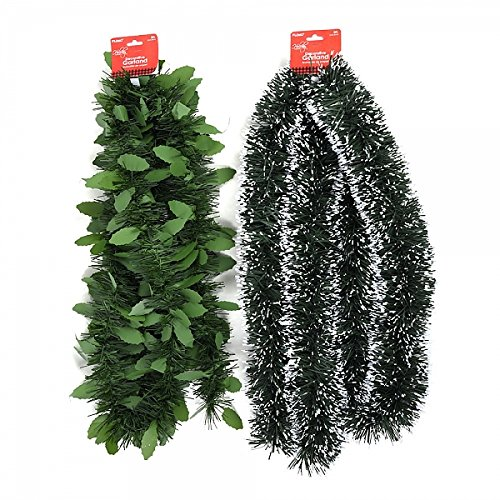 Holiday Essentials Frosted Pine Tree and Holly Leaf Tinsel Garlands by (Tinsel Leaf)