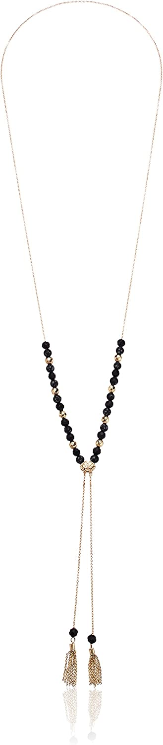 Laundry by Shelli Segal Women's Stone Adjustable Lariat Y Shaped Necklace, Black/Gold, One Size