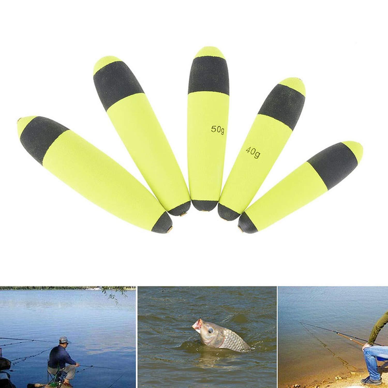 5pcs 30g 40g 50g 60g 80g Saltwater Fishing Floats Buoyancy EVA Inline Bobber Float Catfish Pike Live Bait Float