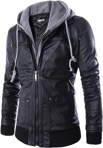 Quge Hombre Multipurpose Chaqueta con Capucha Cuero de Imitación Cazadora Chaquetas de Moto Negro XXL: Amazon.es: Ropa y accesorios