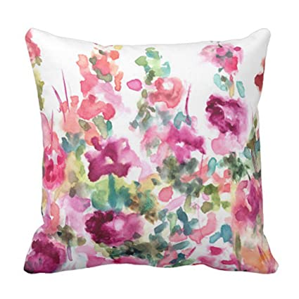 Emvency Throw Pillow Cover Purple Hollyhocks Pink Abstract Watercolor Flower Floral Watercolour Decorative Case Home