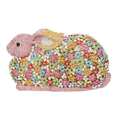 Fawziya Luxury Bling Daimond 3D Rabbit Rhinestone Clutches Evening Bag-Pink