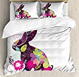 Easter Duvet Cover Set King Size by Lunarable, Abstract Rabbit Silhouette with Floral Design Colorful Wildflowers Swirls and Curves, Decorative 3 Piece Bedding Set with 2 Pillow Shams, Multicolor