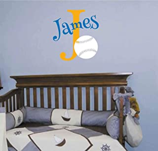Personalized Monogram Kids Wall Decals - Boys Wall Decal- Name Vinyl Lettering - baby boy nursery wall decal James Baseball