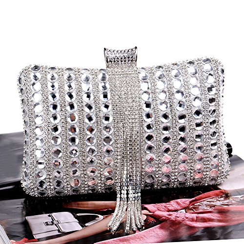 Women's Women's Bag Handbag Exquisite Banquet Diamonds Handbag Evening Diamonds Handbag Silver Awwzrq