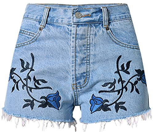 Rtro Bleu Denim Denim Hot Shorts Pants Blue Irrguliers Light Ladies Taille Shorts lastique Bohemian Haute Loose Casual 1 Shorts Beautisun Big xwH4qgYn