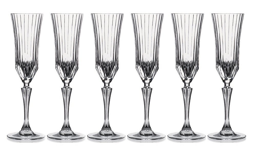 Lorren Home Trends Crystal Adagio Collection Champagne Flutes Glass Set Lorenzo 242970