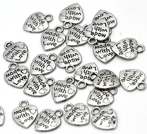 "Youkwer 100Pcs 13mm x10mm Heart-Shaped ""Made with Love ""Words Charms Beads Pendants Jewelry Making Findings Accessories for DIY Crafting,Bracelet and Necklace Making(Antique Silver) ()"
