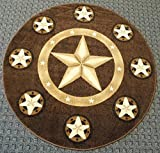 Champion Rugs Texas Western Star Rustic Cowboy Decor Novelty Area Rug Chocolate Brown (5 Feet X 5 Feet Round) For Sale