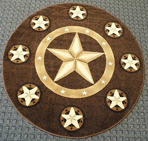 Champion Rugs Texas Western Star Rustic Cowboy Decor Novelty Area Rug Chocolate Brown (5 Feet X 5 Feet Round) For Sale