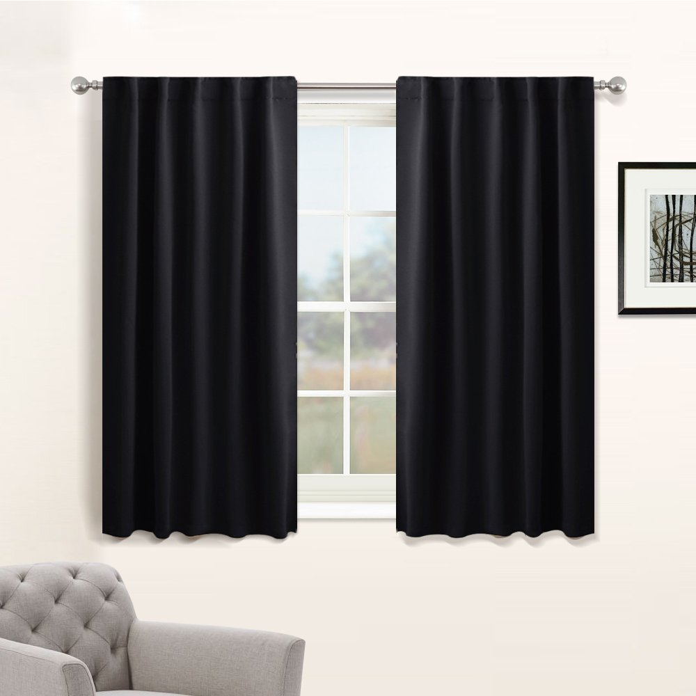 Nursery Blackout Curtain Panels Set - Thermal Insulated Window Treatments Back Tab / Rod Pocket Light Blocking Black