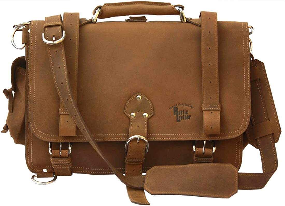 Rustic Leather Distressed, Full Grain Leather Messenger Bag Briefcase Large 16 Made in USA