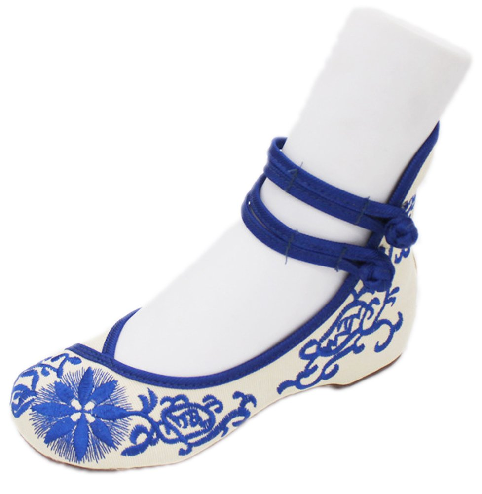 AvaCostume Womens Chinese Cheongsam Matched Shoes Casual Dance Shoes Blue 42