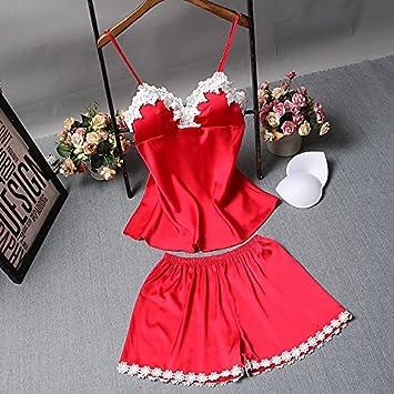 Wanglele Tirantes Pijamas Verano con Bra Bata De Seda Lace Shorts Traje De Dos Piezas Estudiante Bata, L, Rojo: Amazon.es: Hogar