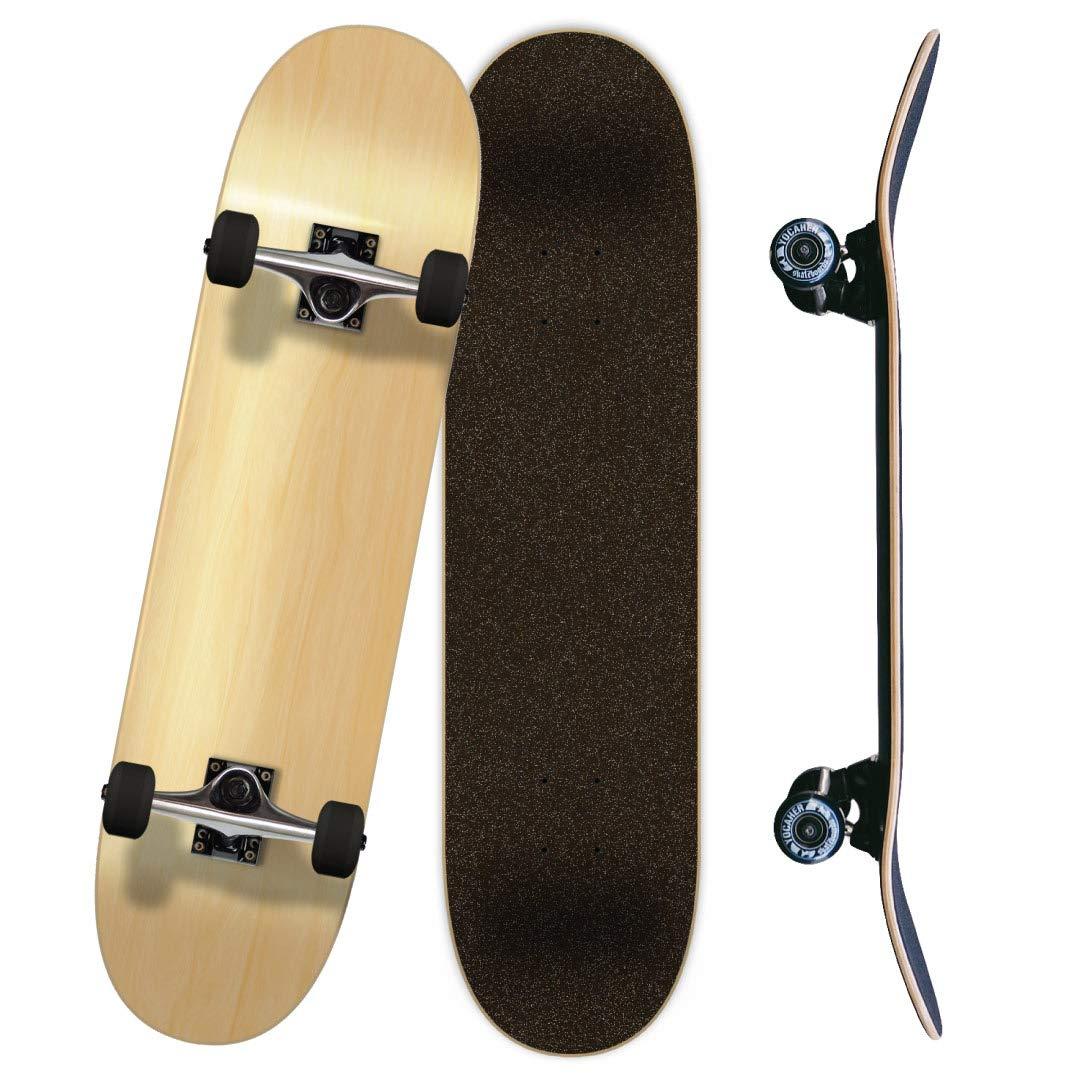 Yocaher Blank, Checker, Camo Pro Complete Skateboard 7.75 w 7Ply Maple Deck, Black Widow Grip Tape, Aluminum Alloy Truck, ABEC-7 Bearing, 54mm Skateboard Wheels