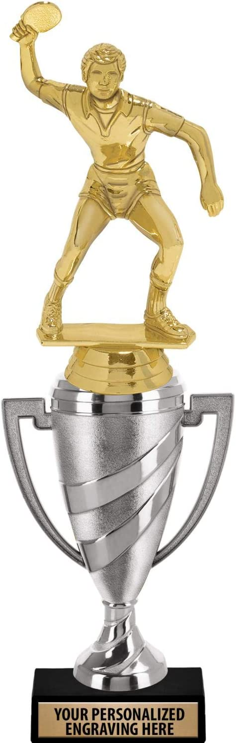 Crown Awards Table Tennis Trophy 14 Silver Cup Male Table Tennis Trophies with Free Personalization Prime