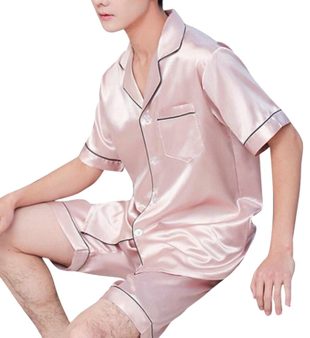 Rrive Mens Buttons Short Sleeve 2 Pieces Pajamas Nightwear Shorts Pajama Sets