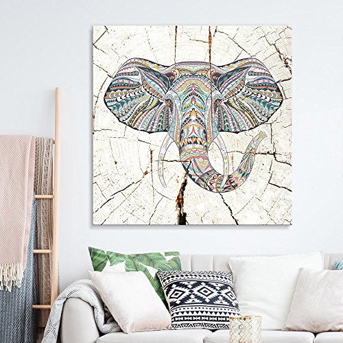 wall26 - Square Canvas Wall Art - Tribal Elephant Wood Effect Canvas - Giclee Print Gallery Wrap Modern Home Decor Ready to Hang - 24x24 inches]()