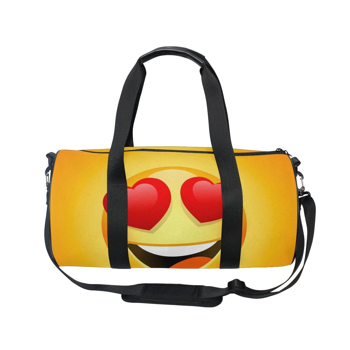 U LIFE Cute Happy Emoji Love Sports Gym Shoulder Handy Duffel Bags