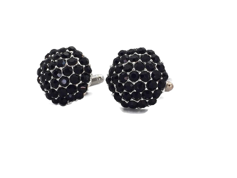 Black Crystal Cufflinks Large Statement Clinks Cuff-links Cluster Diamante Cufflinks