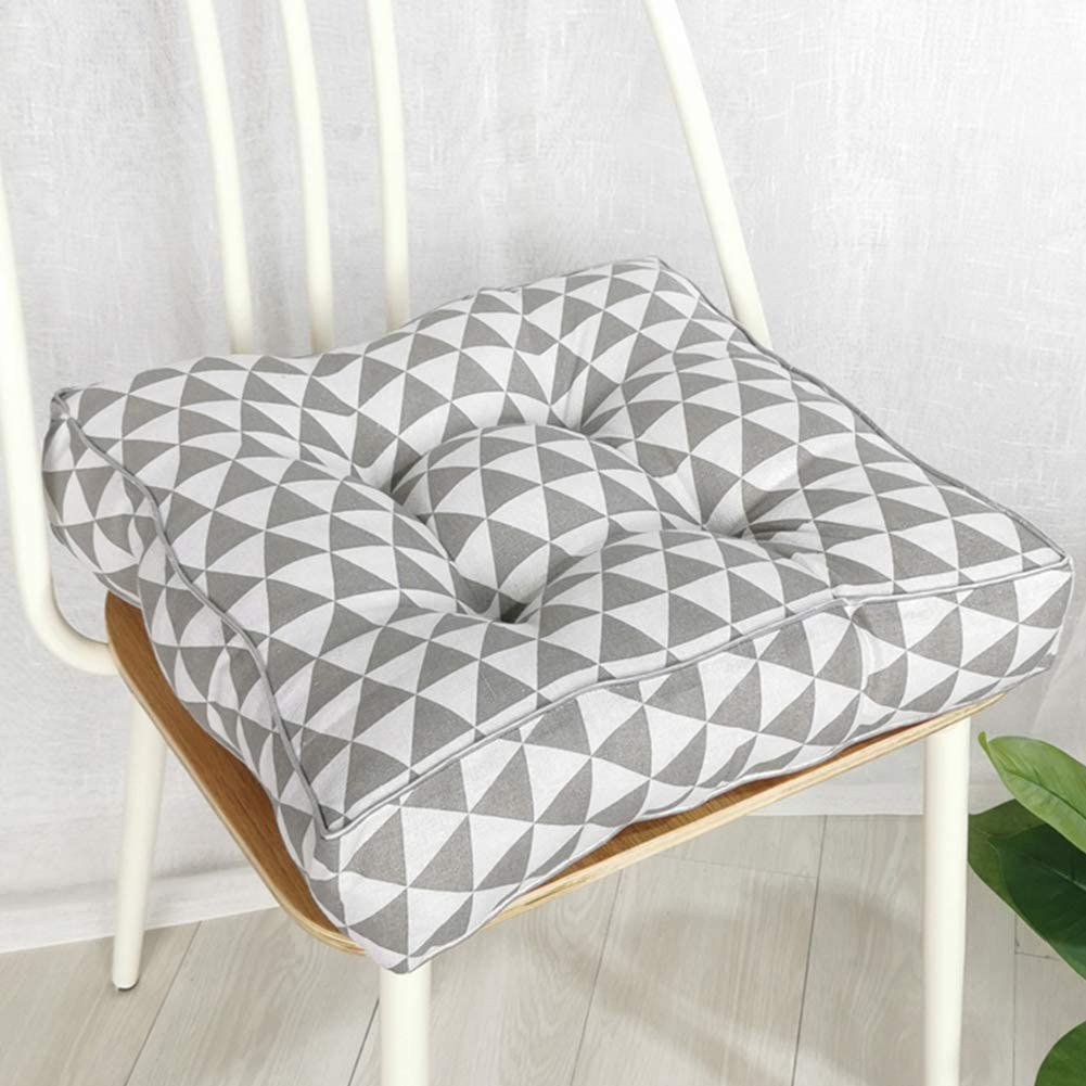"""vctops Bohemian Thicken Soft Patio Chair Pads Indoor Office Home Kitchen  Square Dining Chair Cushion Pillow Grey Triangle 8""""x8""""x8"""""""