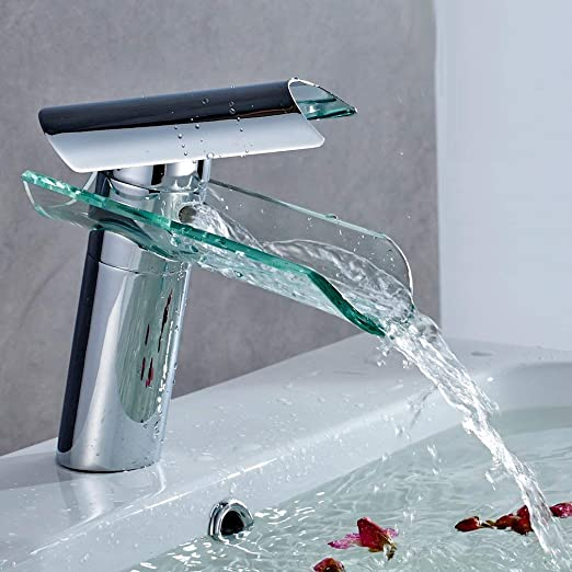 Auralum® Mitigeur de Lavabo Élégant Robinet Salle de Bain Cascade en Chrome  Robinet de Lavabo Design nouveau