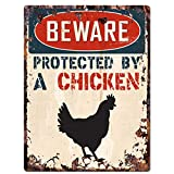 """BEWARE PROTECTED BY A CHICKEN Chic Sign Vintage Retro Rustic 9""""x12"""" Metal Plate Home Room Door Wall Decoration"""