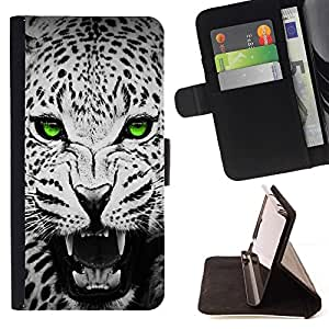 For Samsung Galaxy S3 III I9300 Green Emerald Eyes Leopard Jaguar Black Beautiful Print Wallet Leather Case Cover With Credit Card Slots And Stand Function