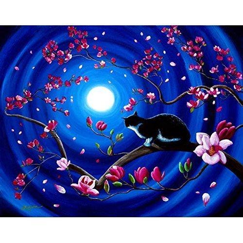 Tuxedo Cat Original Painting on Canvas Japanese Magnolia Tree Blue Moon Zen Iverson (Magnolia Zen)