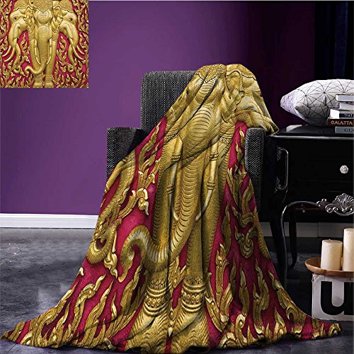 Elephant Patterned blanket Elephant Carved Gold Paint on Door Thai Temple Spirituality Statue Classic beach blanket Fuchsia Mustard size:60''x80'' by Anniutwo