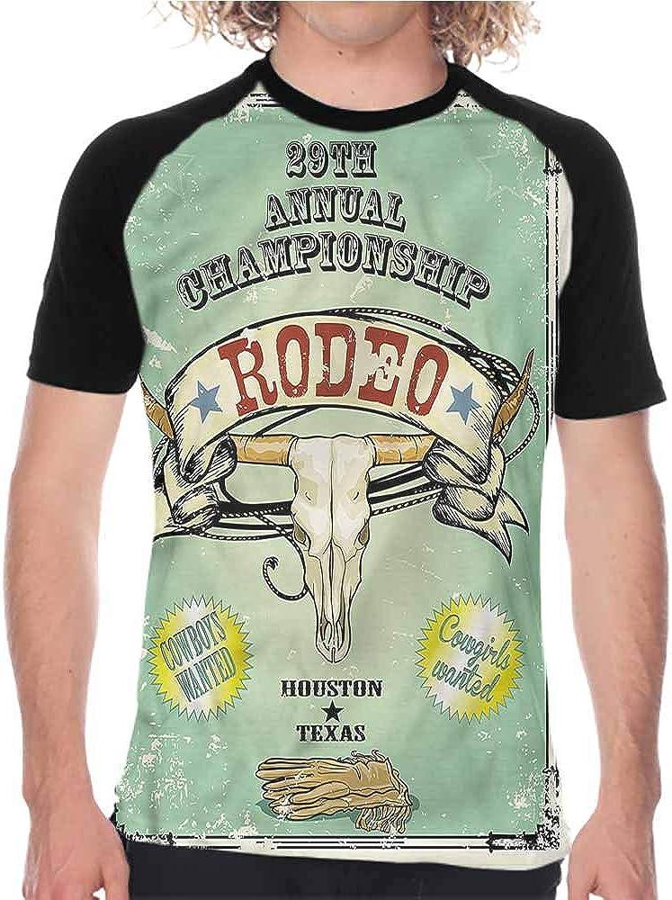 Western,Short Sleeve Shirts Buffalo Bull Skull Horns,Mens Baseball Crew Neck Raglan Sleeve