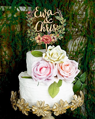 Amazon Com Wood Floral Wreath Cake Topper Personalized Wedding