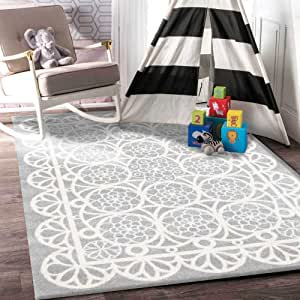 Home Culture Kids Doily Grey White for Bedroom, Living Room, High Traffic Areas of Home and Office (133x133cm Round)