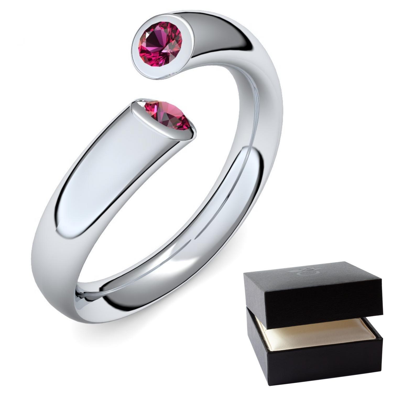 Weißgold Ring Rubin 585 inkl Luxusetui Rubin Ring Weißgold