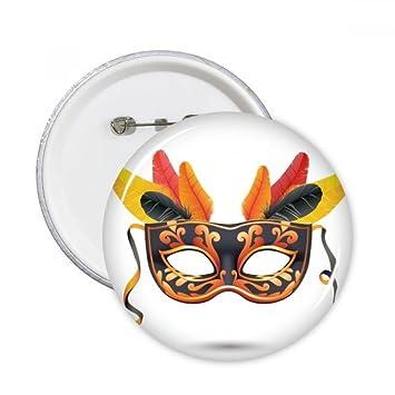 DIYthinker Máscara de plumas Carnaval feliz del botón de Venecia pernos redondos Placa Ropa Decoración 5Pcs