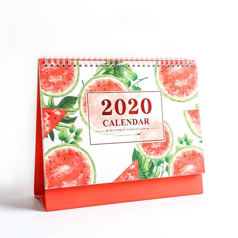 Cute Fruit Monthly Calendario De Escritorio Julio De 2019 A Diciembre De 2020 Calendario De Escritorio 2019-2020 Decoraci/ón De Calendario De Mesa De Caballete De Pie Grande De Doble Cara De Papel Pr