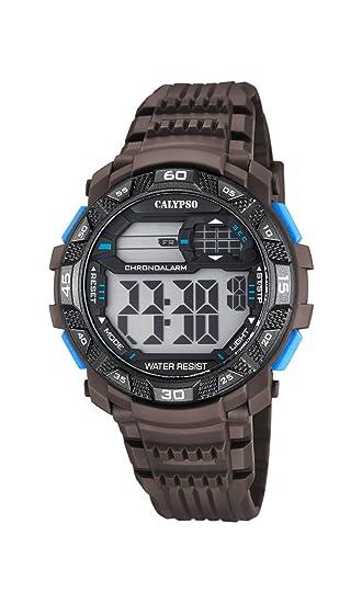 Calypso Hombre Reloj Digital con Pantalla LCD Pantalla Digital Dial y Correa de plástico de Color marrón k5702/4: Amazon.es: Relojes