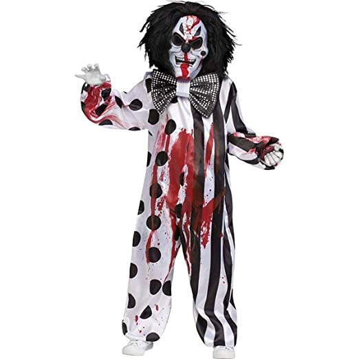 Fun World Bleeding Killer Clown Costume, Large 12   14, Multicolor
