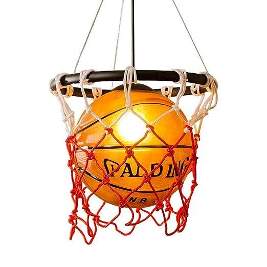 Lámpara moderna retro del baloncesto del viento industrial, lámpara de cristal simple E27 creativo restaurante dormitorio bar tienda ropa tienda ...