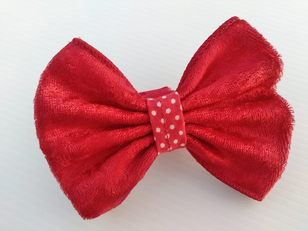 Red Velvety Ribbon Dog Bow Tie with Hook and Loop Fastener Closure