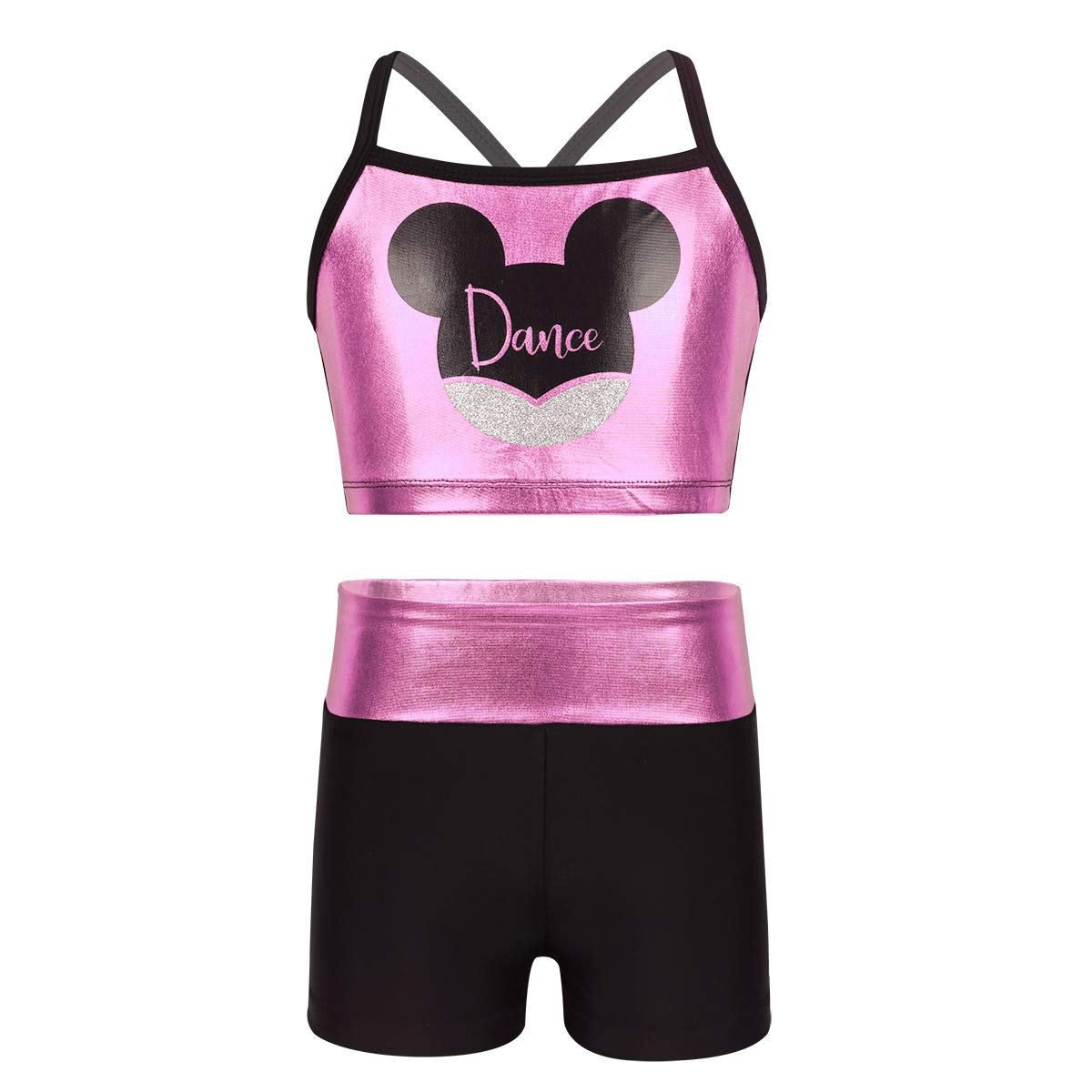 dPois Kids Girls' Polka Dot Strappy Top Bra with Shorts Set for Sports Workout Gymnastics Leotard Dancing Pink (Mouse) 3-4