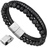 murtoo Essential Oil Bracelet Adjustable, Mens Beads Bracelet Lava Rock Stone Bracelet Perfume Diffuser Bracelet, 7-9 Inches