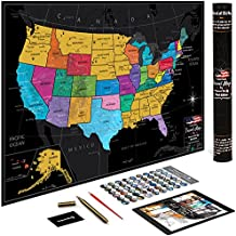 """US Map w/ Scratch Off Ink by VespucciWorld (24x17"""" Glossy Laminated) Beautiful Wall Poster to Show Off Your United States Travel Destinations - Unique Accessories Set & 54 USA Landmarks Ebook"""