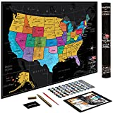 US Map w/Scratch Off Ink by VespucciWorld (24x17 Glossy Laminated) Beautiful Wall Poster to Show Off Your United States Travel Destinations - Unique Accessories Set & 54 USA Landmarks Ebook