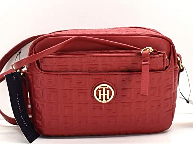 2af3447d0 Image Unavailable. Image not available for. Color: Tommy Hilfiger Red Logo  Embossed Crossbody ...