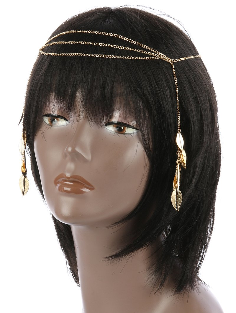 LAYERED METAL CHAIN LEAF FRINGE STRETCH HAIR ACCESSORY