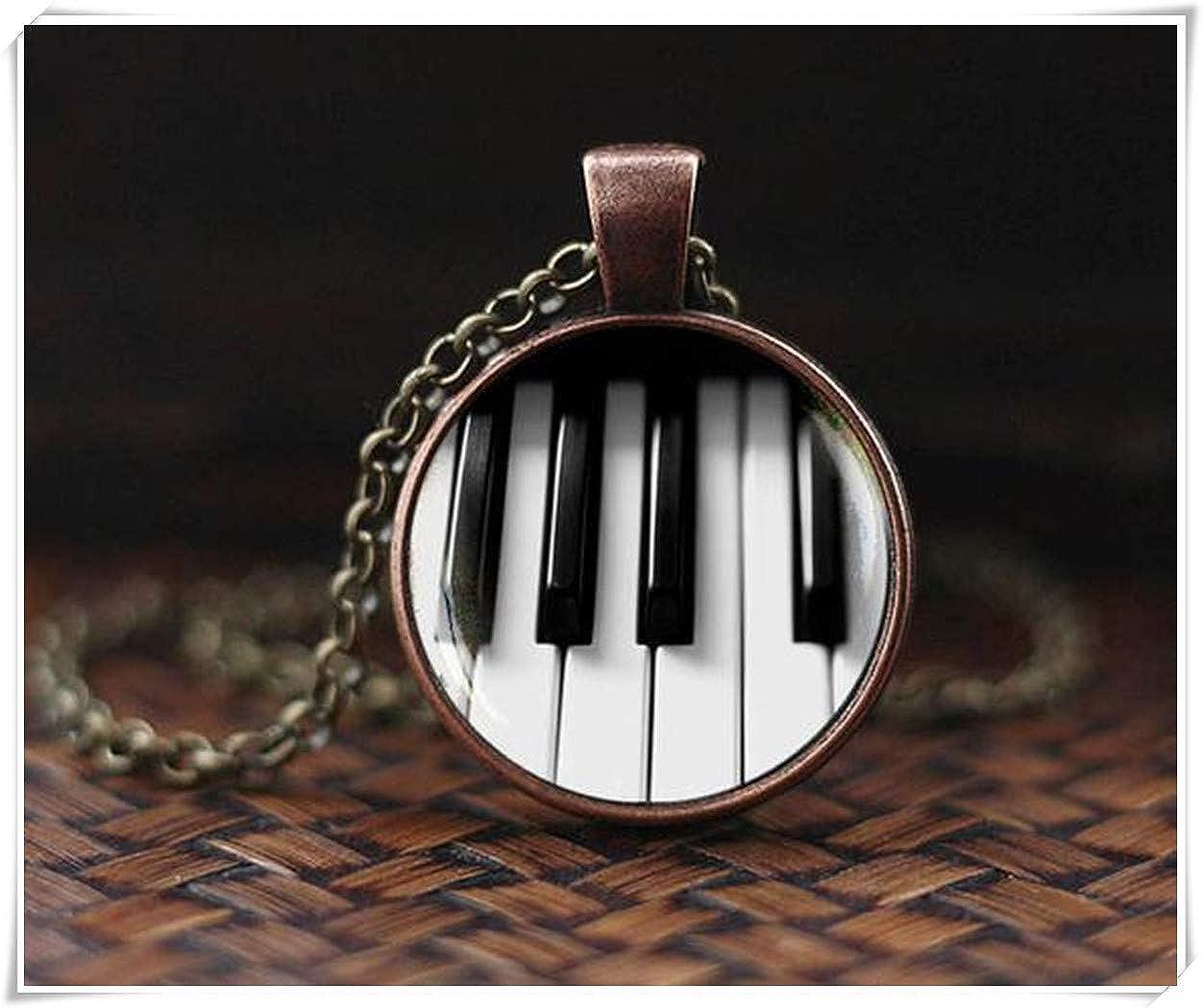 Klavier-Halskette, klassisches Musikgeschenk, Musikgeschenk, Klaviertastatur-Anhänger, Schwarz und Weiß meet you VT57