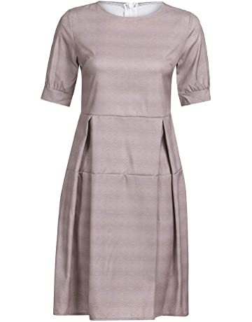 b5f452e9c8 Uscharm Ladies Half Sleeve Dress Casual Vintage Work Office A Line Knee  Length Solid Color Patchwork